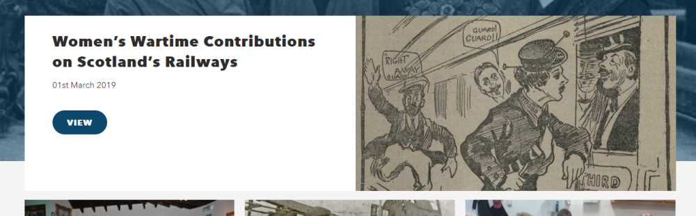 A screenshot from the Go Industrial website with an old illustration of people at a train and text that says