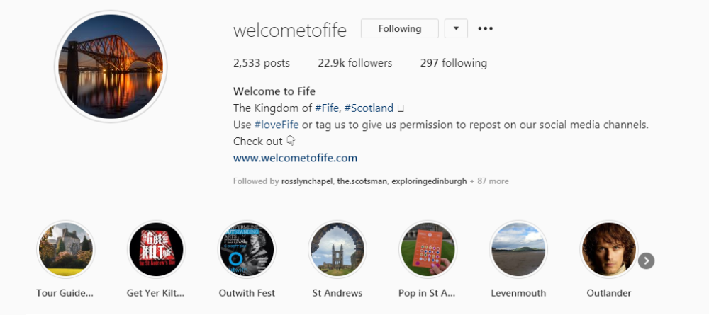 Screenshot of the Welcome to Fife account